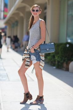 Street Style: New York Fashion Week Spring 2014 I love to see Chanel classics with dressed down style. Very edgy and cool.
