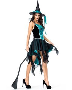 Adult Women/'s Classic Bewitching Witch Green Costume Short Dress Hat Vest XS-XXL