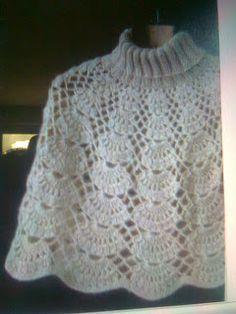 Tejidos Kangél: capas y ponchos Crochet Scarves, Crochet Shawl, Crochet Clothes, Crochet Lace, Crochet Eyes, Crochet Collar, Ladies Poncho, Crochet Magazine, Crochet Stitches Patterns