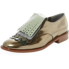 Robert Clergerie Women's Jupin Metallic Fringe Loafer - Size 35.5 ($279) ❤ liked on Polyvore featuring shoes, loafers, multi, leather upper shoes, leather loafer shoes, genuine leather shoes, fringe loafers and loafer shoes
