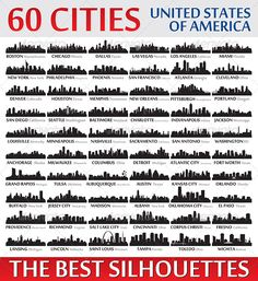 Silhouettes Set o 60 USA Cities - Buildings Objects