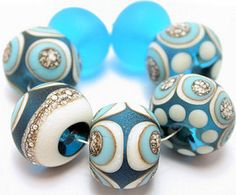 Glass Lampwork Beads 50% OFF Store Wide Sale Aqua Ivory Turquoise Silvered Ivory Free Shipping