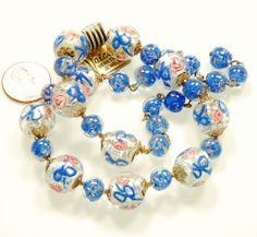 Vtg 40's 50's Venetian Foil Wedding Cake Glass Bead Necklace | eBay
