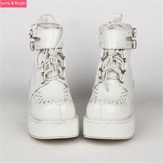 Women White Leather Thick Heel Platform Lace Up Punk Lolita Cos Ankle Wedge Boots