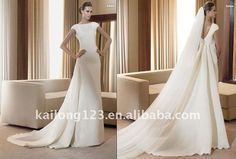 Vintage Sheath Short sleeves Boat neck Draped Beading Satin Bridal dress-in Wedding Dresses from Apparel & Accessories on Aliexpress.com