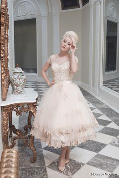 house of mooshki bridal fall 2014 evie champaagne tulle tea length wedding dress weddingbrand.com