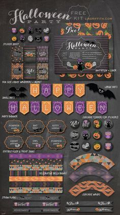 FREE printables Halloween Party Kit Roundup, labels, banners, more labels and lots more by @lia griffith