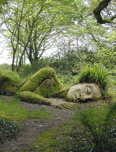 Amazing art in Lost Gardens of Heligan, Cornualles, England kind of looks like Te Fiti maybe this was also part of the insparation for Te Fiti (at least the lied down posstion and remember i said this might bepart of the insparation not all) Images Cools, Lost Gardens Of Heligan, Art Visage, Disney Aesthetic, Parcs, Land Art, Mother Earth, Mother Nature, Garden Art