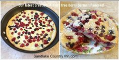 Sandlake Country Inn's German Pancake is a quick recipe to serve your family. Even easier is to stay at Sandlake Country Inn and we'll make it for you. German Pancakes Recipe, Tasty Pancakes, Quick Recipes, New Recipes, Dairy Free, Gluten Free, Breakfast Recipes, Breakfast Ideas, Berries