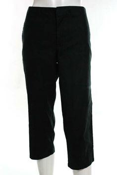 NWT $44 LIZ /& CO Bleted Cotton Cropped CAPRI PANTS 8 Solid Deep Blue