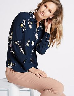 Buy the Floral Print Long Sleeve Shirt from Marks and Spencer's range. Long Sleeve Outfits, Long Sleeve Shirts, Workwear, Looks Great, Floral Prints, Feminine, Cute, How To Wear, Stuff To Buy