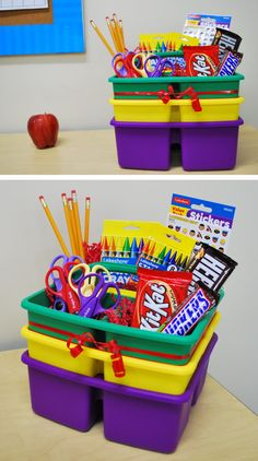 Fill one of Lakeshore's Small Classroom Supply Caddies with school supplies for a fantastic teacher appreciation gift! Teacher Supply Cake, Student Teacher Gifts, Teacher Gift Baskets, Teacher Tote, School Supplies Cake, Classroom Supplies, School Centerpieces, Craft Gifts, Diy Gifts