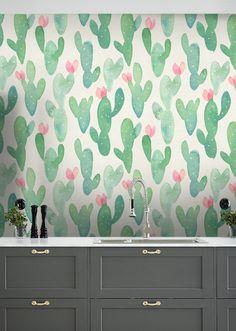 Acuarela papel pintado/Cactus cactus extraíble wallpaper/Cactus quitar pared mural wallpaper/cactus/fondo de pantalla Nr S066