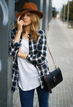 @roressclothes closet ideas #women fashion outfit #clothing style apparel Plaid Outfit Idea with Brown Hat