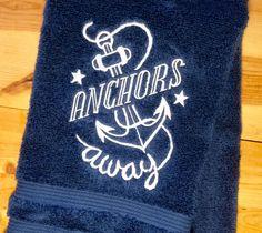 ANCHORS AWAY Towel~ Embroidered Nautical Hand&Bath Towels~ Beach Bathroom Decor