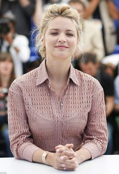 French beauty: Elle actress Virgine Efira opted for low-key demure as she smiled coyly for...