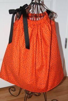 Sale - Ready to Ship - Halloween Orange Pillowcase Dress Sizes 6-9M, 9-12M, 3T
