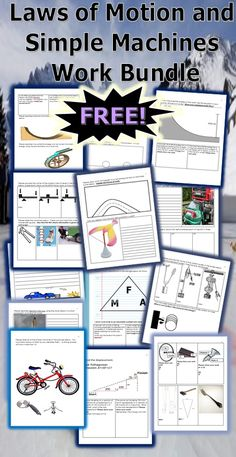 This is a FREE 16 page homework or classwork bundle about Newton's Three Laws of Motion and Simple Machines. An answer key is provided. -Enjoy! Science from Murf LLC