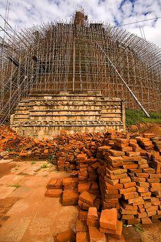 Stupa covered in scaffolding, Anuradhapura, Sri Lanka