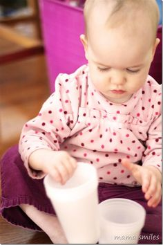 simple baby play idea: stacking cups - from mamasmiles.com