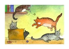 Cat Greeting Card Funny Watercolor Cats by tylersworkshop on Etsy, $3.50