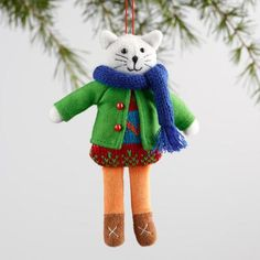 One of my favorite discoveries at WorldMarket.com: Fabric Holiday Dressed Cat Ornaments Set of 3