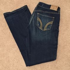 Hollister Boot Cut Jeans New 3S Dark Wash Pants Hollister Boot Cut Jeans New 3S Dark Wash Destroyed Jeans 26x 31. Worn a few times. Like new condition ! Great buy! These jeans are $49.50 at the store !!! Hollister Jeans Boot Cut
