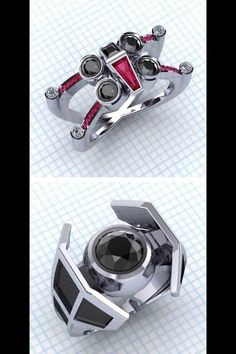 For star wars fans marriage rings — the x-wing looks interesting haha Star Wars Ring, Star Wars Love, Star Wars Art, Star Wars Stuff, Bijoux Star Wars, Star Wars Jewelry, Star Wars Wedding, Wedding Fans, Nerd Wedding Rings