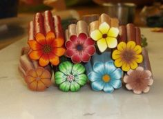 Items similar to Polymer Clay Tutorial - BackGroundLess Millefiori Flower Cane on Etsy Cane Fimo, Polymer Clay Canes, Polymer Clay Flowers, Fimo Clay, Polymer Clay Projects, Polymer Clay Creations, Clay Crafts, Polymer Clay Jewelry, Polymer Beads