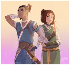 I was upset Suki was never mentioned in LOK :( I never see fan art of Sokka and Suki! All I see if of tokka :( I'm glad I stumbled upon this though Avatar Aang, Suki Avatar, Avatar The Last Airbender Art, Team Avatar, Suki And Sokka, Avatar Series, Korrasami, Fire Nation, Fanart