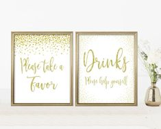 Baby Shower Signs Kit, Printable Set, Editable PDF Template, Gold Confetti, Digital Print, Instant Download, Please take a favor, Drinks Sign Lds Baptism Program, Drink Signs, Baby Shower Signs, Gold Confetti, Baby Games, Girl Shower, Line Design, Shower Games, Baby Shower Decorations