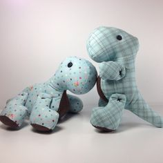 """Dinos sewn by Nicole of One Sweet Stitch - """"Pattern from @sweetbriarsisters and I love them! I sewed arms on without buttons so it would be baby friendly."""" #brontosaurus #trex #tyrannos..."""