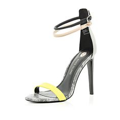 Black color block barely there sandals