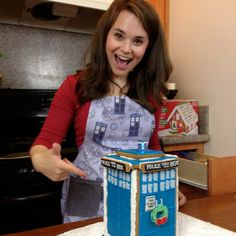 The lovely Rosanna Pansino modeling a Huckleberry Baby Dr. Who Tardis Apron on Nerdy Nummies. $58.00, via Etsy.