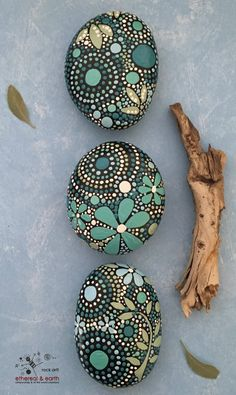 Hand Painted River Rock Trio - blue luminescence Trio collection #36 - $28 - Mandala & Natural Element Design - Rock Art!