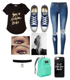 """""""this one is for my besties!"""" by paigey16 on Polyvore featuring Hollister Co., WithChic, Converse and JanSport"""