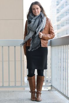 FashionablyEmployed.com   Work Wear Remix: Gray sheath dress with cognac boots, cognac faux leather jacket and gray blanket scarf   Start with a neutral investment piece as the base of an outfit to maximize remixing options and make the most of your work wear wardrobe