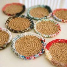 簡単♪可愛い♪裂き編みコースター