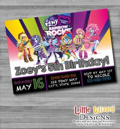My Little Pony Equestria Girls: Rainbow Rocks Invitation by LittleWizardDesigns