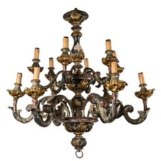 Painted And Gilded Wood  12 Light Chandelier | From a unique collection of antique and modern chandeliers and pendants  at https://www.1stdibs.com/furniture/lighting/chandeliers-pendant-lights/