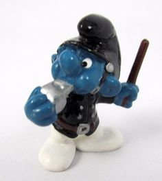 Vtg 1981 Smurfs Peyo Policeman Black Smurf 20123 Schleich Hong Kong PVC Figure