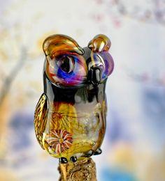 Ida........ lampwork owl bead....... sra by DeniseAnnette on Etsy
