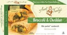 Broccoli & Cheddar Fillo Pocket Sandwich (5 oz.) - A delicious blend of #Broccoli, #Cheddar Cheese, Parmesan Cheese and Onions, seasoned with Worcestershire Sauce, Garlic and Black Pepper, wrapped with Organic #Fillo dough in the shape of a hand held rectangle. Microwavable. All #Natural, #Vegetarian, #Kosher OU-Dairy, No Trans-Fat. See nutrition or shop online at http://www.fillofactory.com/brands/brands-aunt-trudys.html.