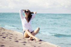 #Beachstyle #Beach #Style #White #Shirt #Denim #Shorts