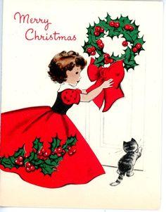 Vintage Norcross Christmas Greeting Card Holly Girl Card 966
