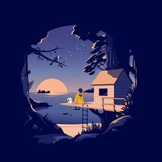how to illustrator Illustration Nocturne, Illustration Design Plat, Illustration Arte, Night Illustration, Arte 8 Bits, Digital Foto, Scenery Wallpaper, Anime Scenery, Bastille