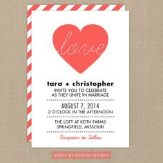 Wedding Invitation and RSVP Card Lovely  by replybydesignstudio, $40.00