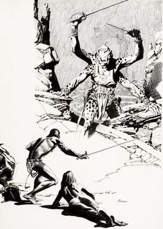 """Al Williamson - John Carter of Mars art The first sword fight with one of the Barsoomians .must have been the moment when """"KI"""". Comic Book Artists, Comic Artist, Comic Books Art, Frank Frazetta, John Carter Of Mars, Science Fiction Art, Pulp Fiction, Sword And Sorcery, Fantasy Illustration"""
