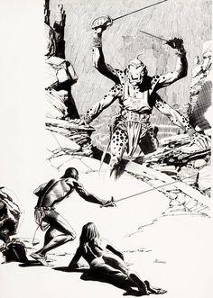 "Al Williamson - John Carter of Mars art The first sword fight with one of the Barsoomians .must have been the moment when ""KI"". Science Fiction Art, Pulp Fiction, Frank Frazetta, Black White Art, Fantasy Illustration, Pulp Art, Fantastic Art, Sci Fi Fantasy, Black White"