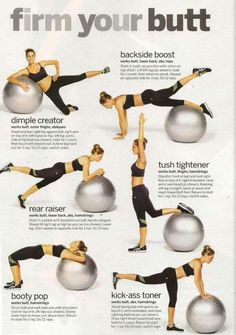 Butt food recipes, stability ball exercises, weight loss, workout fitness, stability ball workouts, glute workouts, medicine ball, workout exercises, exercise ball workouts